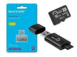 KIT 2 EM 1 CARTÃO MICRO SD 16GB + LEITOR USB - MC162